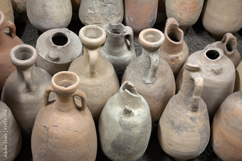 The ancient amphorae. Archaeological finds. Canvas Print