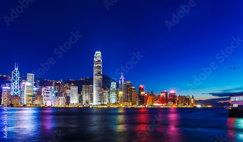 In de dag Chicago Hong Kong skyline at night