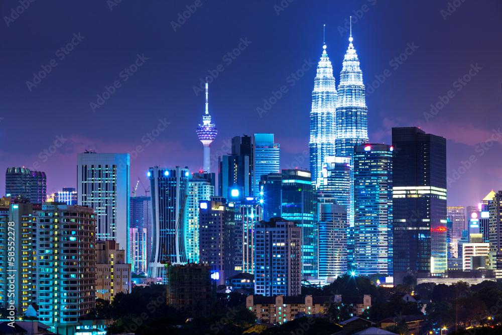 Fototapeta Kuala Lumpur skyline at night