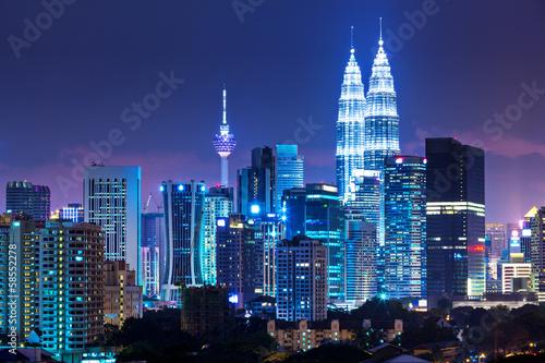 Kuala Lumpur skyline at night Canvas Print
