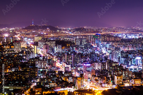 Cityscape of seoul at night Poster