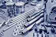 Leinwandbild Motiv blue toned precision auto engine parts laid out in a workshop