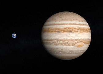 Planets Earth and Jupiter