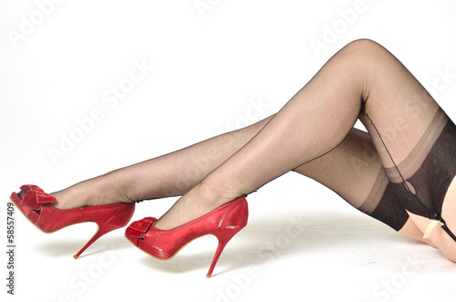 Red shoes black stockings Canvas-taulu