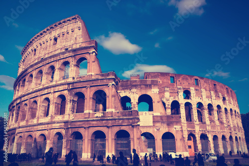 Photo  Italy. Rome.  Collosseo,with a retro effect