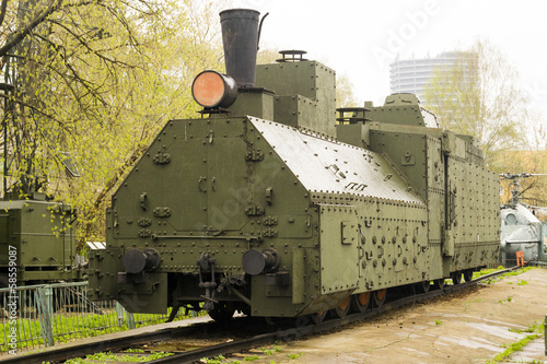 Fotografie, Obraz  Armoured WWII Russian locomotive class Ov 5067 Front left view