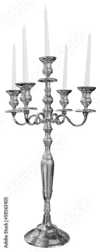 Leinwand Poster Old silver candlestick