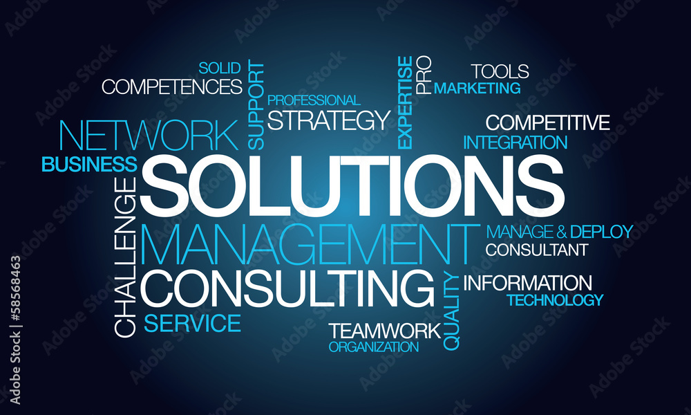 Fototapeta Solutions management consulting network word tag cloud image