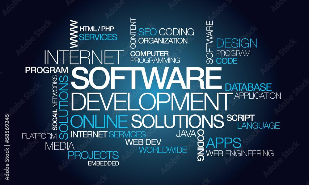 Fototapeta Software development apps computer programming word tag cloud
