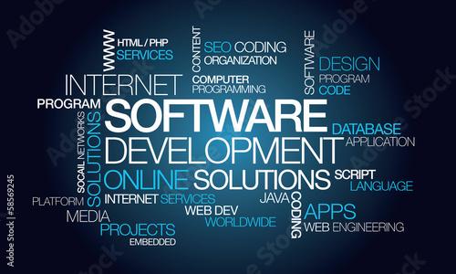Fotografía Software development apps computer programming word tag cloud