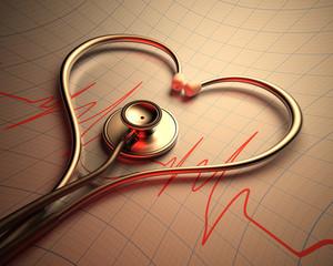 Fototapeta samoprzylepna Stethoscope Heart Shape