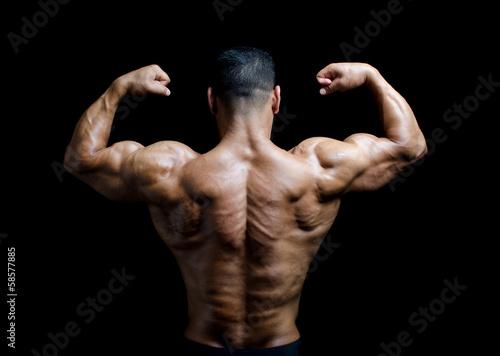 Fotografie, Obraz  Back, shoulders and arms of muscular bodybuilder