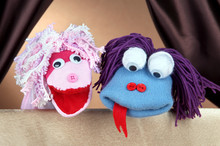 Puppet Show On Brown Background