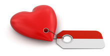 Heart With Indonesian Flag (clipping Path Included)