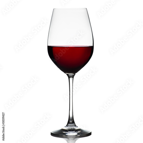Foto op Aluminium Wijn Red wine glass isolated