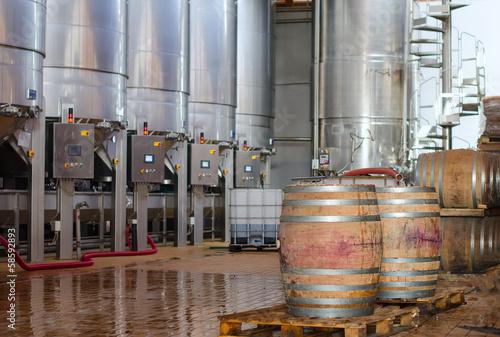 Fotografie, Obraz  Wine manufacturing. Modern winery tanks.