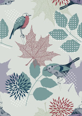 Fototapeta Liście Seamless Pattern with Birds and Leaves