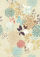 FototapetaSeamless Pattern with Flowers and Deer