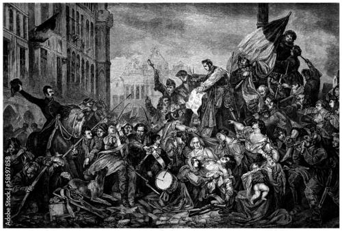 Obraz na plátne Street Battle : Barricades - 19th century (1830)