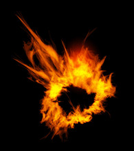 Fiery Explosion On A Black Background.