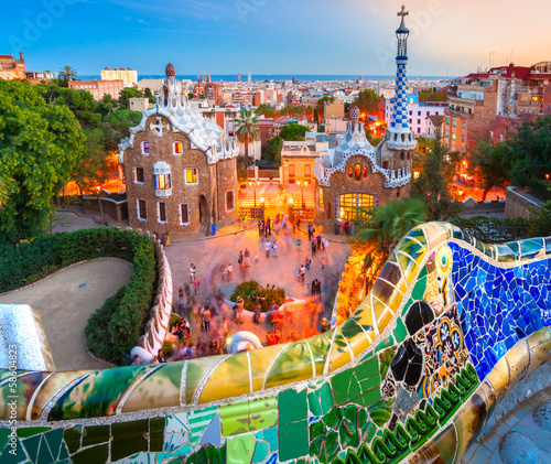 Foto op Canvas Barcelona Park Guell in Barcelona, Spain.