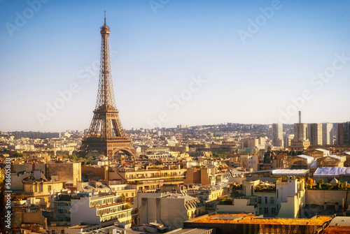 Poster Parijs Eiffel Tower, Paris, panoramic view from Triumphal Arch