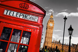 Fototapeta Big Ben - Red telephone booth and Big Ben in London, England, the UK