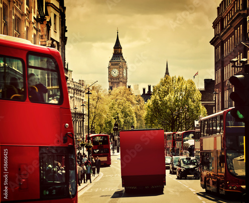 Türaufkleber London roten bus Busy street of London, England, the UK. Red buses, Big Ben