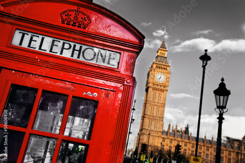 Red telephone booth and Big Ben in London, England, the UK
