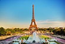 Eiffel Tower Seen From Fountain At Jardins Du Trocadero. Paris