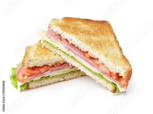 Spoed Foto op Canvas Snack toasted sandwich with ham, cheese and vegetables