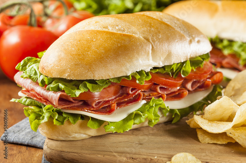 Spoed Foto op Canvas Snack Homemade Italian Sub Sandwich