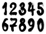 Fototapeta Młodzieżowe - Vector graffiti hand drawn graffiti grunge numbers