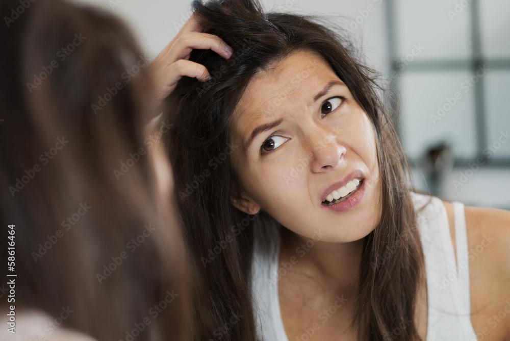 Fototapeta Woman having a bad hair day