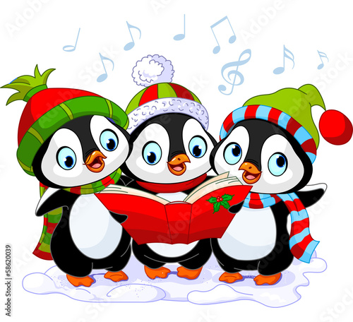 Poster Magie Christmas carolers penguins