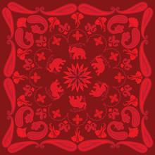 Asian Elephant And Paisley Ban...