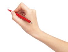 Female Hand Writing With A Red...