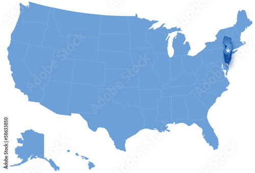Map Of The United States Where New Jersey Is Pulled Out Buy This