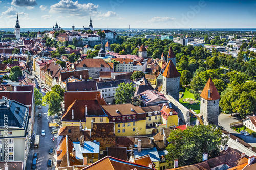 Canvas Prints Eastern Europe Tallinn Estonia Aerial View