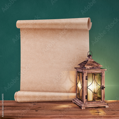 vintage lantern with antique scroll on green background Poster