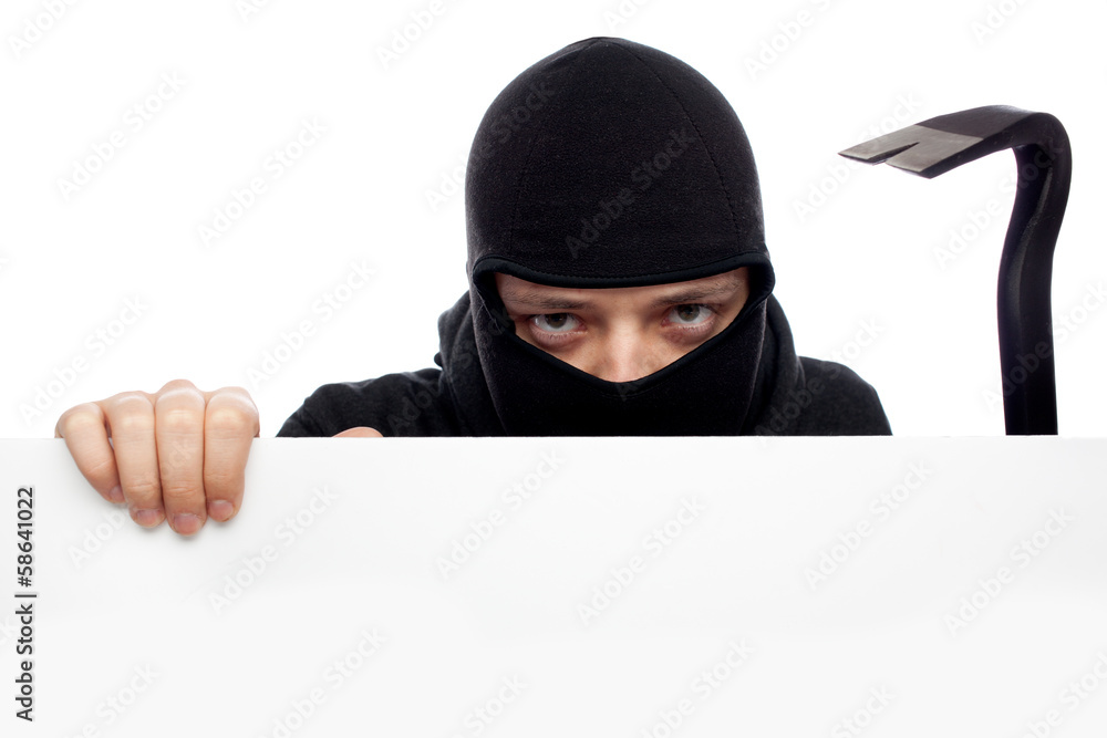 Fototapeta thief or burglar man isolated over white