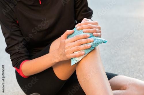 Cool Gel Pack On A Swollen Hurting Knee
