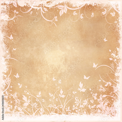Poster Butterflies in Grunge Floral grunge background