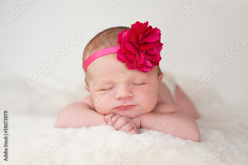 Newborn Baby Girl with Hot Pink Flower Headband Poster