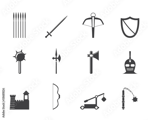 фотографія Silhouette medieval arms and objects icons - vector icon set