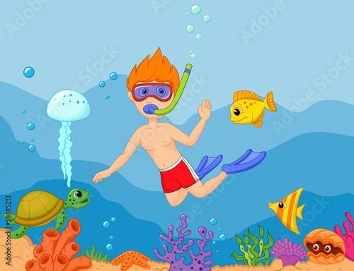 Cadres-photo bureau Cosmos Snorkeling boy