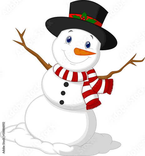 Photo  Christmas Snowman wearing a Hat and red scarf