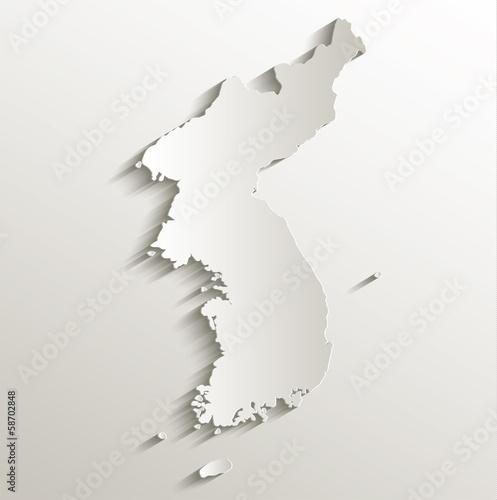 Fotografía  Korea map card paper 3D natural
