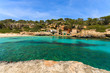 Rocks bay beach azure sea water, Cala Llombards, Majorca island