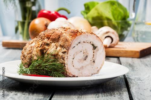 Obraz na plátně  Meat roll stuffed with mushrooms